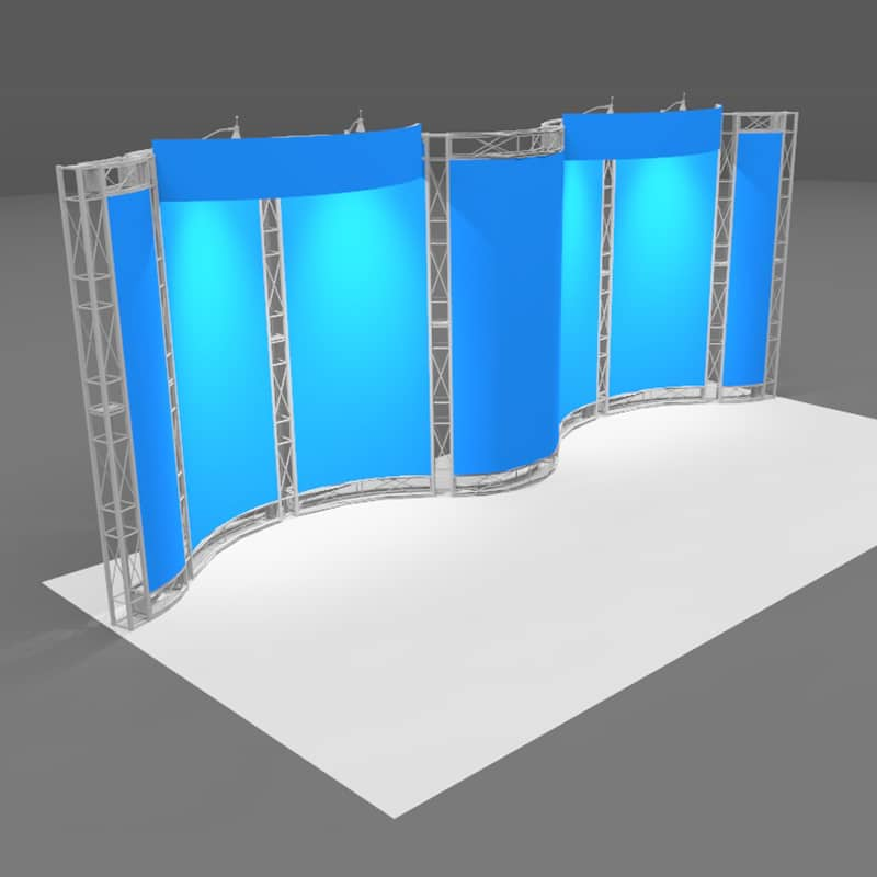 isometric view of 20' Aluminum Product Display with large shipping cases included