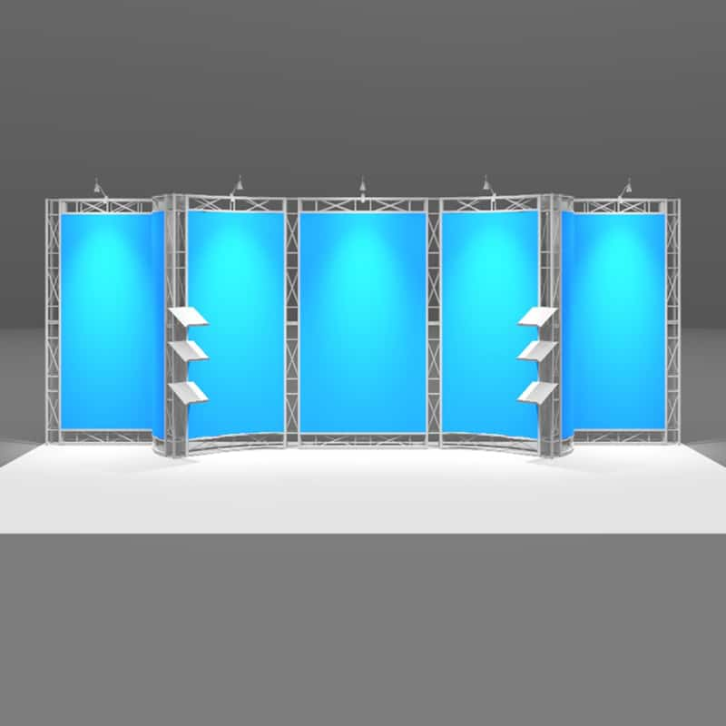 20 x 8 Aluminum Metal Display with curve appeal, isometric front view