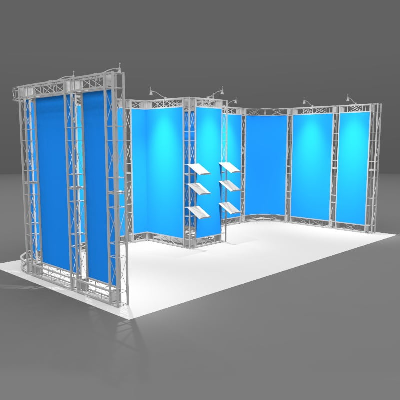 20′ Aluminum Retail Display Salinas kit with lights and two large cases, isometric view