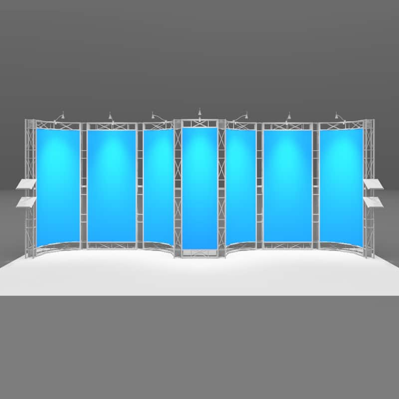 20 Foot Tech Display with large shipping case included isometric view