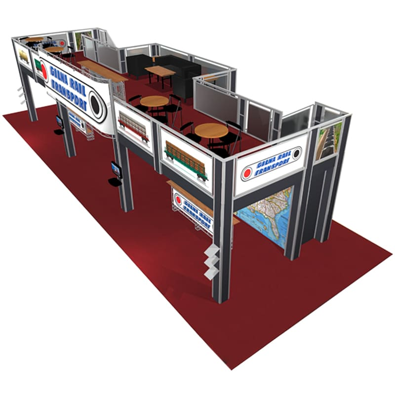 20 X 50 Two Story Display with deck, 2 staircases, cases, add on graphics front