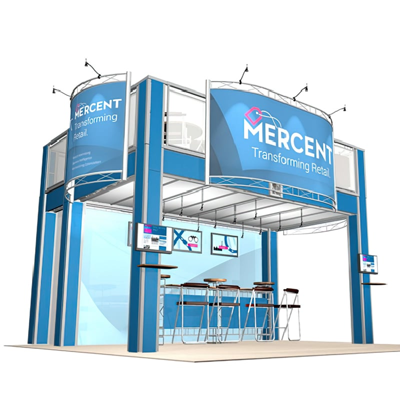 20 X 20 Double Deck Display with staircase, lights, cases and graphics