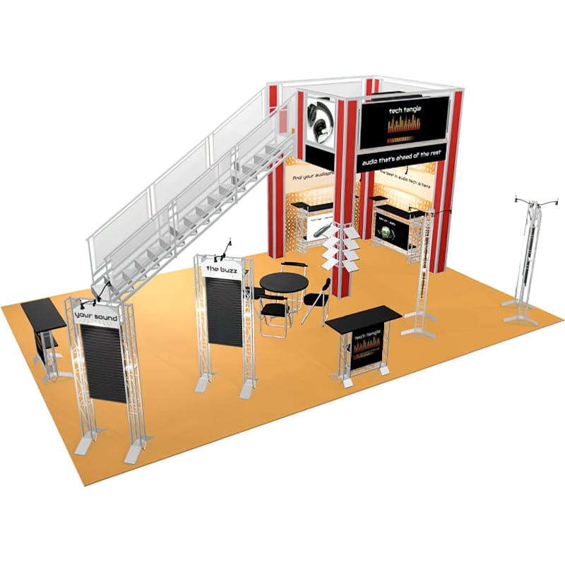 20' x 30′ Double Deck Display with staircase, cases and graphic option