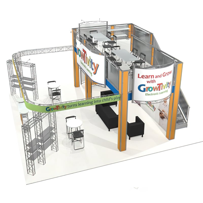30 X 30 Two Story Display - Growtivity aerial quarter view