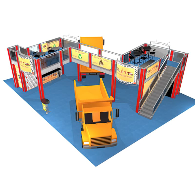 40 x 50 Two Story Display - Lift Hauling aerial view