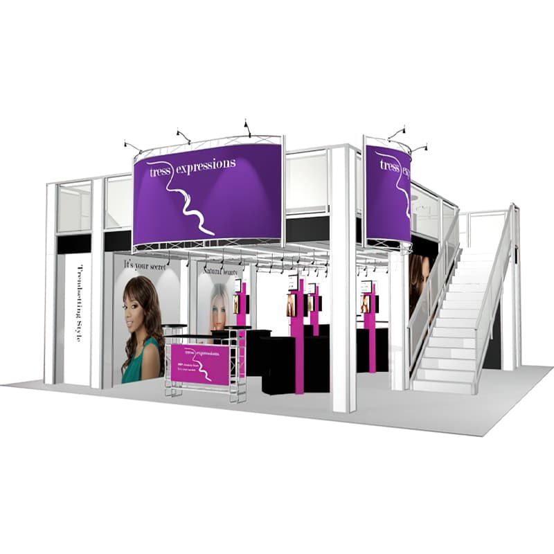 30 x 30 Double Deck Display with large deck, 2 stairs, graphics, cases