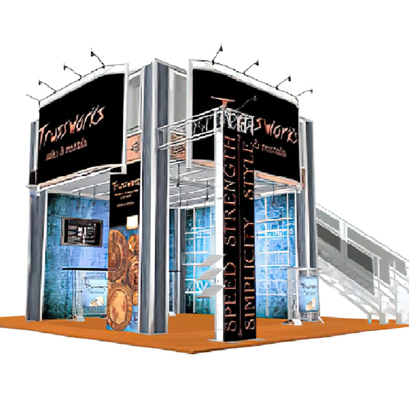 2 Story 20 x 20 display with hardware, lighting, graphics, cases