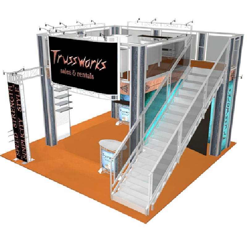 2 Story 20 x 20 display - Trussworks side view