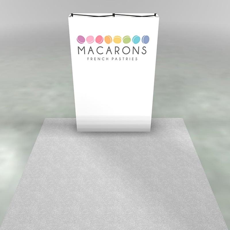 front view, render of 5 foot x-1 display