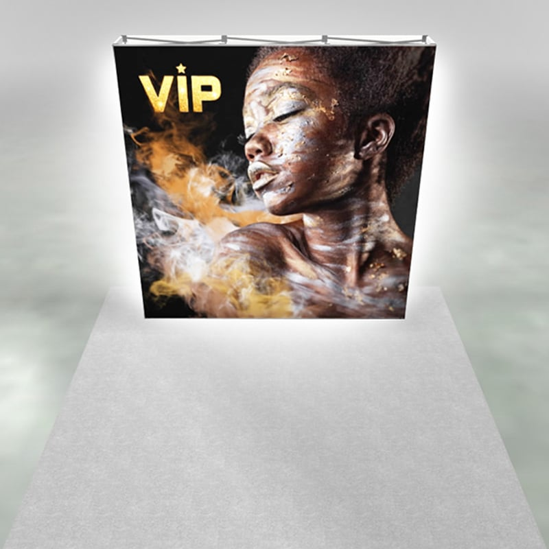 8 foot SEG pop-up display 3x3 size, front