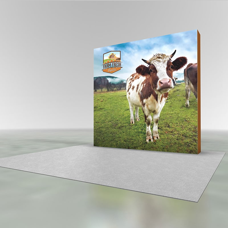 8 foot SEG pop-up display 3x3 size with 4K dye sub printed graphics, side view