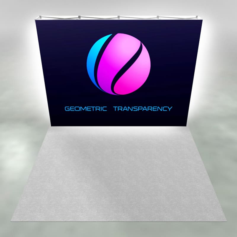 10 x 10 SEG Display-X1s is perfect for a 10-foot trade show booth space