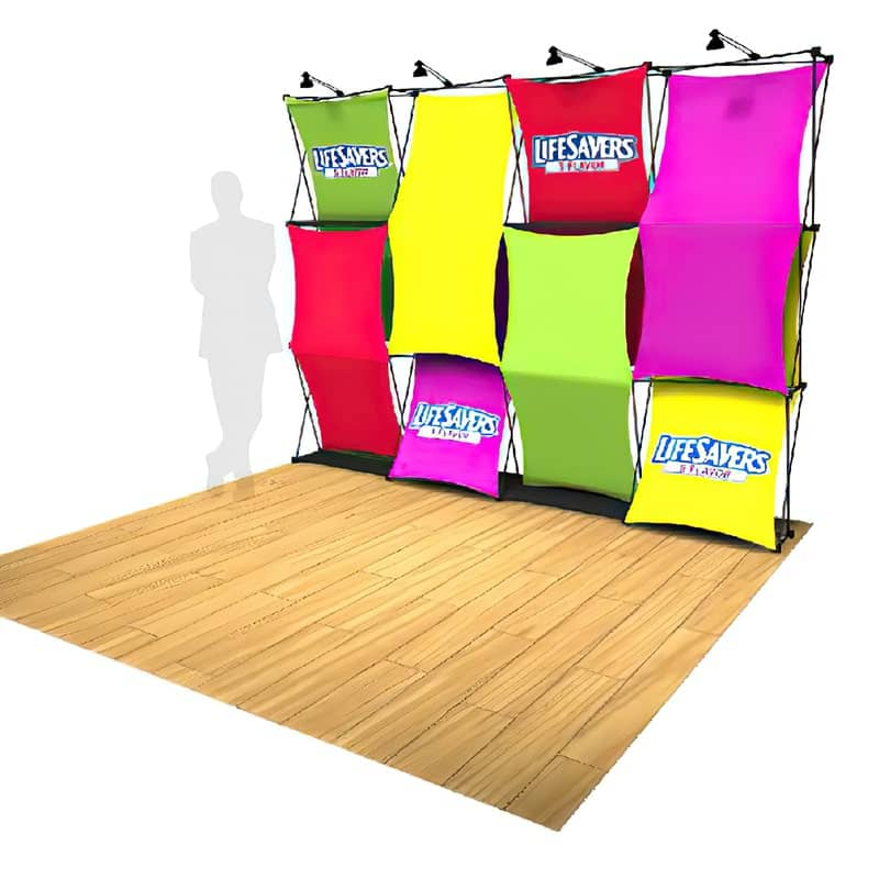 XSNAP Display 4×3 Kit H fabric display sets up quickly with only one person